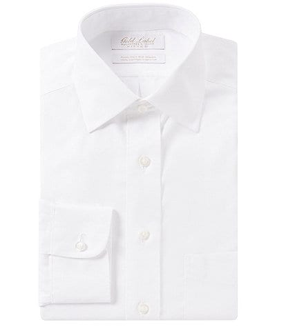 Gold Label Roundtree & Yorke Non-Iron Fitted Spread-Collar Solid Dress Shirt