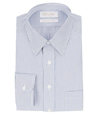 Gold Label Roundtree & Yorke Non-Iron Fitted Point-Collar Grid Dress Shirt