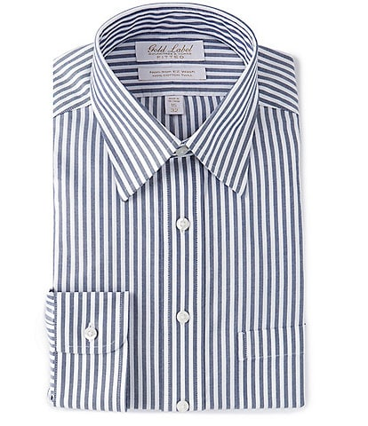 Gold Label Roundtree & Yorke Non-Iron Fitted Point Collar Navy Bengal Stripe Twill Dress Shirt