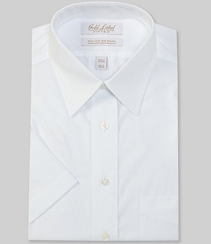 Gold Label Roundtree & Yorke Non-Iron Fitted Point-Collar Short Sleeve Solid Dress Shirt