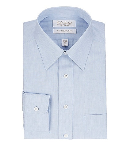 Gold Label Roundtree & Yorke Non-Iron Fitted Point Collar Solid Linen Dress Shirt