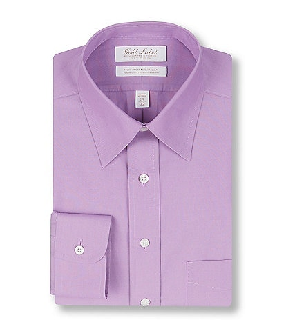 Gold Label Roundtree & Yorke Non-Iron Fitted Point Collar Solid Purple Dress Shirt
