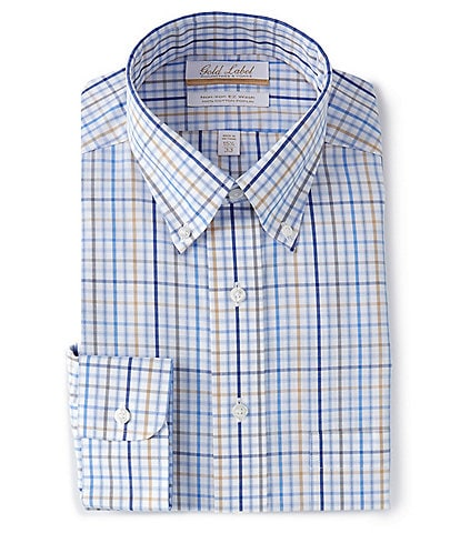Gold Label Roundtree & Yorke Non-Iron Full Fit Button-Down Collar Blue Multi-Colored Check Dress Shirt