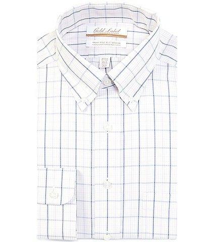 Gold Label Roundtree & Yorke Non-Iron Full Fit Button-Down Collar Checked Dress Shirt