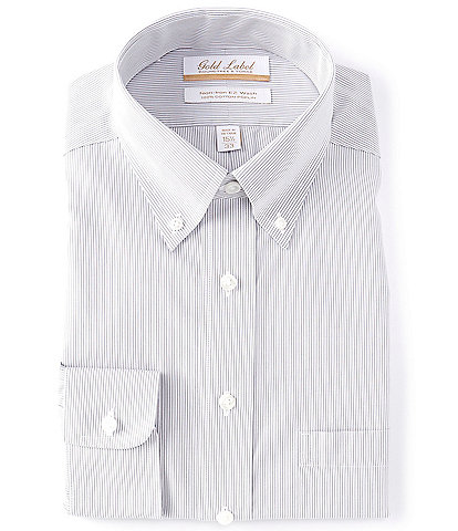 Gold Label Roundtree & Yorke Non-Iron Full Fit Button-Down Collar Grey Fine Line Dress Shirt