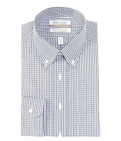 Gold Label Roundtree & Yorke Non-Iron Full Fit Button-Down Collar Grid Dress Shirt