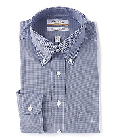 Gold Label Roundtree & Yorke Non-Iron Full Fit Button-Down Collar Navy Houndstooth Dress Shirt