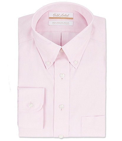 Gold Label Roundtree & Yorke Non-Iron Full-Fit Button-Down Collar Solid Dress Shirt