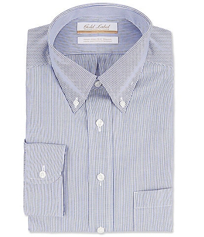 Gold Label Roundtree & Yorke Non-Iron Full Fit Button-Down Collar Striped Dress Shirt