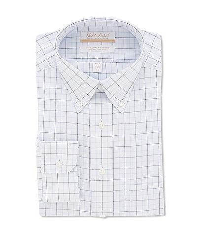Gold Label Roundtree & Yorke Non-Iron Full-Fit Button-Down Collar Textured Check Dress Shirt