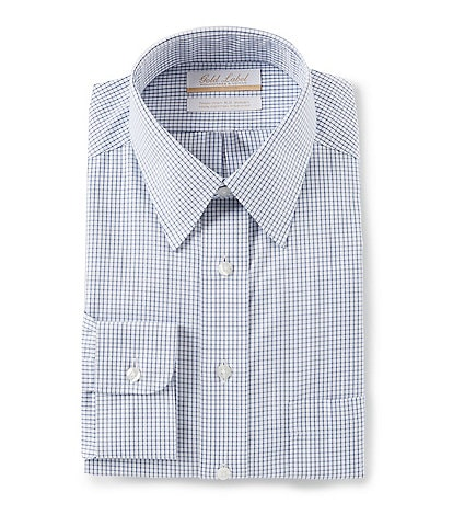 Gold Label Roundtree & Yorke Non-Iron Full Fit Point Collar Grid Pattern Dress Shirt