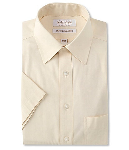 Gold Label Roundtree & Yorke Slim-Fit Non-Iron Point Collar Short Sleeve Solid Dress Shirt