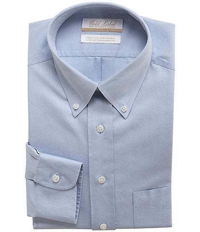 Gold Label Roundtree & Yorke Non-Iron Full-Fit Button-Down Collar Solid Patch Pocket Dress Shirt