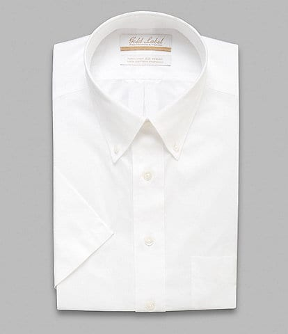 Gold Label Roundtree & Yorke Non-Iron Full-Fit Button-Down Collar Solid Short-Sleeve Dress Shirt