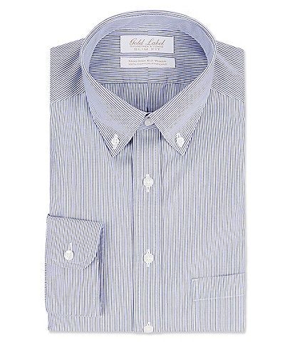 Gold Label Roundtree & Yorke Non-Iron Slim Fit Button-Down Collar Striped Dress Shirt