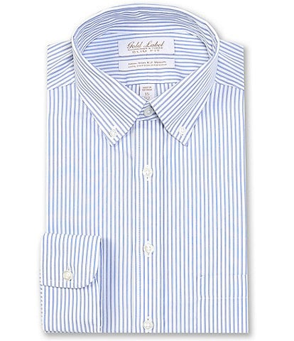 Gold Label Roundtree & Yorke Non-Iron Slim Fit Button-Down Collar White & Blue Striped Dress Shirt