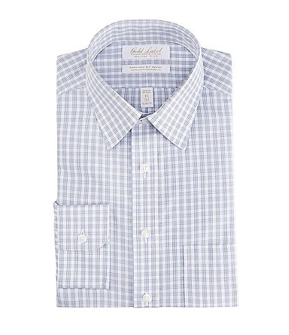 Gold Label Roundtree & Yorke Non-Iron Slim Fit Point Collar Grey Checked Dress Shirt