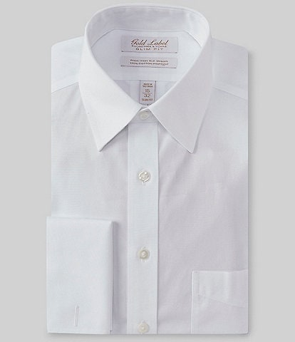 Gold Label Roundtree & Yorke Non-Iron Slim Fit Point Collar Solid Dress Shirt with French Cuffs