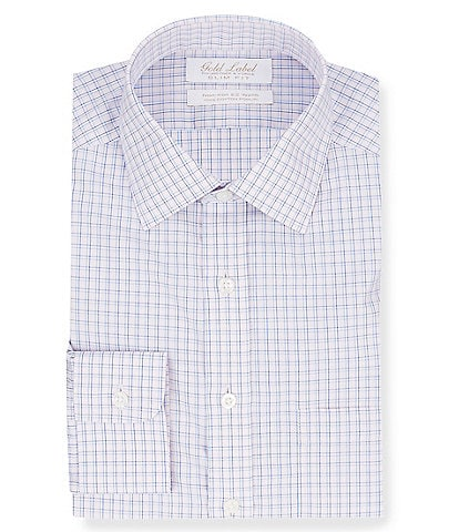 Gold Label Roundtree & Yorke Non-Iron Slim Fit Spread Collar Grid Pattern Dress Shirt