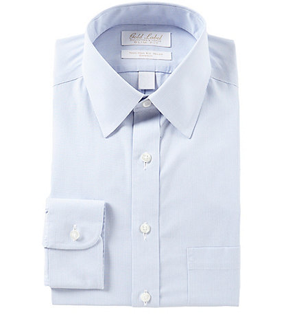 Gold Label Roundtree & Yorke Non-Iron Stretch Slim-Fit Point-Collar Striped Dress Shirt