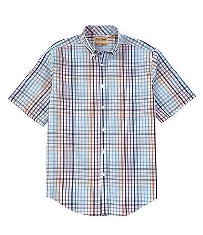 Gold Label Roundtree & Yorke Perfect Performance Short-Sleeve Non-Iron Gingham Sportshirt