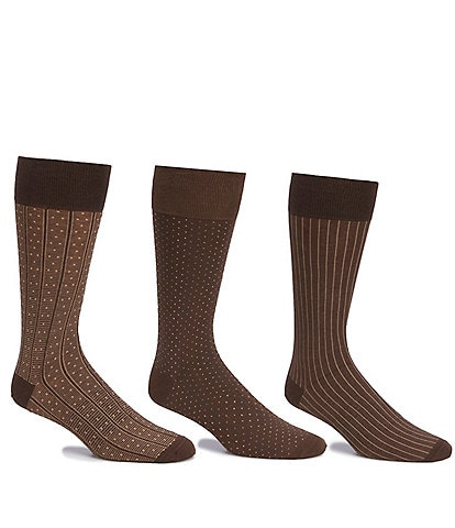 Gold Label Roundtree & Yorke Printed Crew Dress Socks 3-Pack