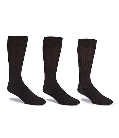 Gold Label Roundtree & Yorke Textured Microfiber Crew Dress Socks