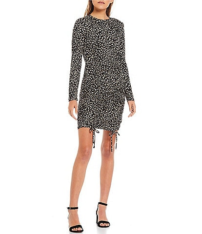 Good Luck Gem Animal Print Long Sleeve Double Cinched Front Dress