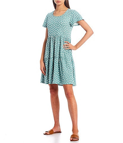 Good Luck Gem Ditsy Print Ribbed Knit Tiered Dress