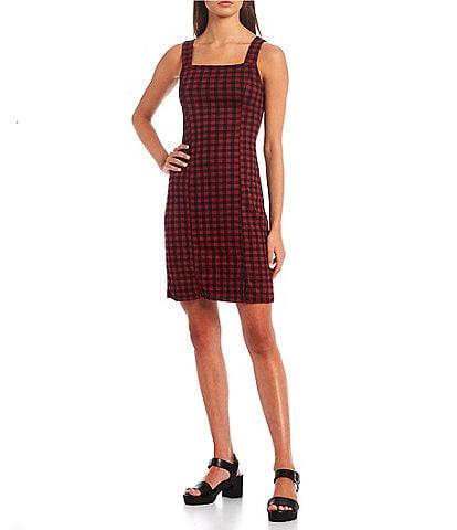 Good Luck Gem Gingham Sleeveless Jumper Dress