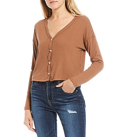 Good Luck Gem Long Sleeve Rib Knit Cropped Button Front Cardigan
