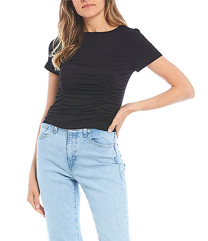 Good Luck Gem Short Sleeve Ruched Front Top