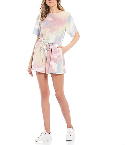 Good Luck Gem Tie-Dye Knit Romper