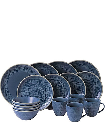 Gordon Ramsay by Royal Doulton Maze Grill Hammer Blue 16-Piece Dinnerware Set