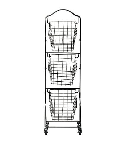 Gourmet Basics by Mikasa Rio 3-Tier Metal Market Basket with Wheels