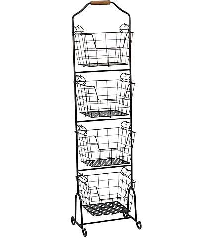 Gourmet Basics by Mikasa Ferme 4-Tier Metal Floor Standing Fruit/Home Storage Market Basket