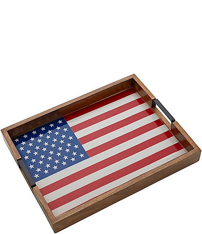 Gourmet Basics by Mikasa Rectangular American Flag Lazy Susan Serve Tray