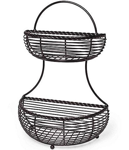 Gourmet Basics by Mikasa Rope 2 Tier Countertop Flatback Basket