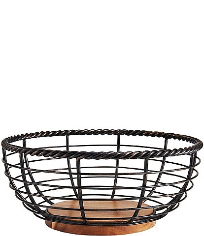 Gourmet Basics by Mikasa Rope Round Wrought Iron & Wood Fruit Basket