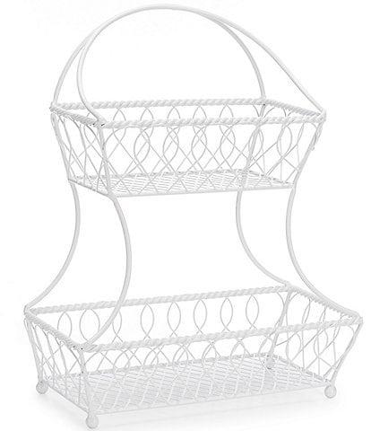 Gourmet Basics by Mikasa White 2 -Tier Flatback Storage Basket