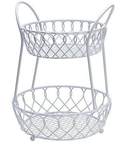 Gourmet Basics by Mikasa White 2-Tier Loop & Lattice Basket