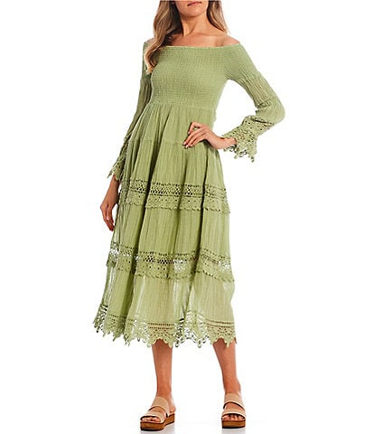 Guess Amberlee Off-the-Shoulder Smocked Lace Trim Knit Dress