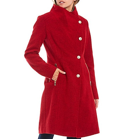 Guess Asymmetrical Button Front Funnel Neck Wool Blend Coat