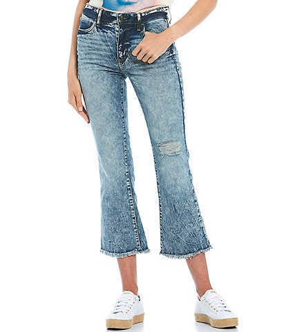 Guess Ayla High Rise Cropped Kick Flare Jeans