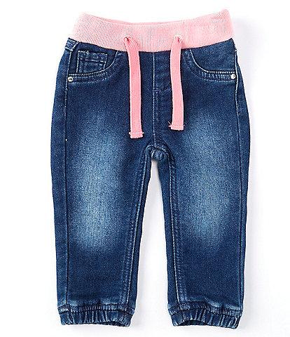 Guess Baby Girls Newborn-24 Months Ribbed-Waist Denim Jogger Pants