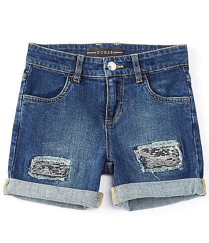Guess Big Girls 7-16 Denim Distressed/Sequin Shorts