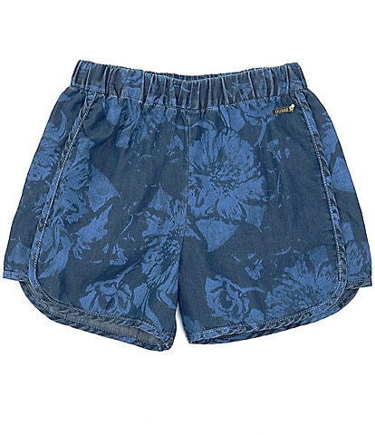 Guess Big Girls 7-16 Floral Printed Denim Pull-On Shorts