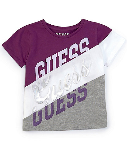 Guess Big Girls 7-16 Short-Sleeve Pieced Colorblock Repeat-Logo Tee