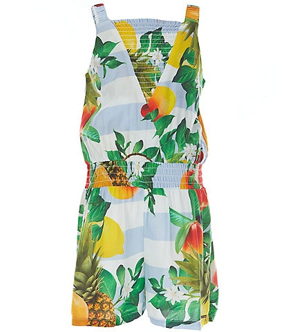 Guess Big Girls 7-16 Smocked Floral Faux-Wrap Romper