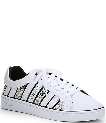Guess Bolier Snake Print Stripe Lace-Up Sneakers